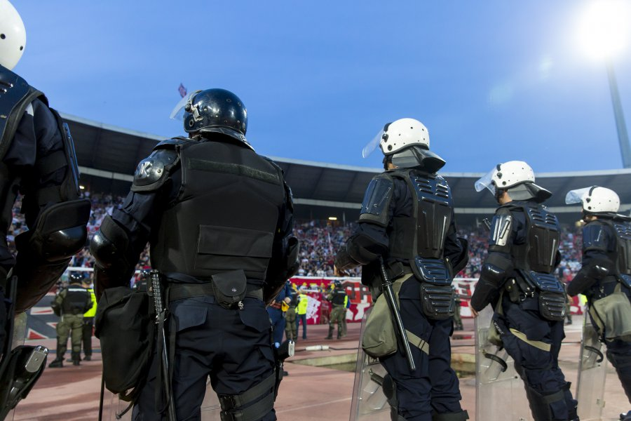 Special police unit at the stadium event secure a safe match